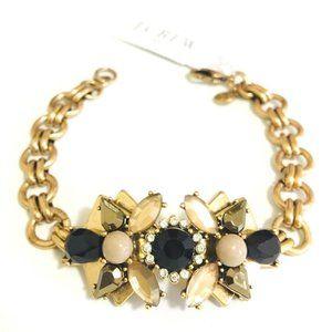 J.CREW Gold, Black & Clear Rhinestone Bracelet